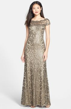 Free shipping and returns on Tadashi Shoji Illusion Yoke Sequin Embroidered Trumpet Gown at Nordstrom.com. Glamorous sequins swirl in gorgeous filigree all over a breathtaking trumpet gown graced with a beautifully scalloped illusion neckline.