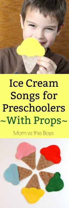 Ice Cream Songs for Preschoolers with Free Printable Prop Template - Mom vs the Boys