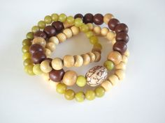 3 Piece Betel Nut Olive New Jade and Wood Tribal by NiaBandSags, $25.00