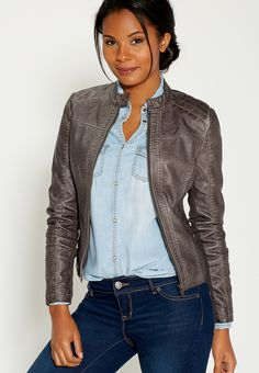 distressed moto jacket with ribbed knit sides - maurices.com