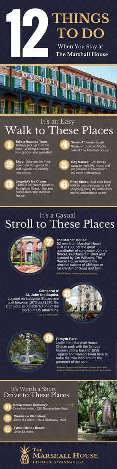 There's no shortage of things to do in Savannah.  Here's a list of the things most guests do when they stay at The Marshall House.  It's an easy walk, a casual stroll or a short drive to these most-often visits Savannah places. --- 12 Things to Do When You Stay at The Marshall House  #visitsavannah