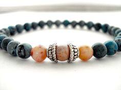Jasper Meditation Bracelet Blue Jasper Cream by peaceofminejewelry, $26.00