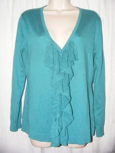 DKNYC Green Ruffle Front Knit Cardigan Cotton Blend Top M #DKNYC #KnitTop #Casual