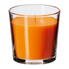 IKEA - SINNLIG, Scented candle in glass, Creates atmosphere with a pleasant scent of tangerine sunshine and warm candlelight.</t><t>The candle has the same beautiful color during its entire burn time, because it is colored through.</t><t>You can easily change the look of the candle by putting it in VACKERT decorative holder for candle in glass.</t><t>When the candle has burned itself out the cup can be used as a tealight holder.