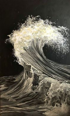 Buy The Wave (L'Onda), Acrylic painting by Genya Gritchin on Artfinder. Discover thousands of other original paintings, prints, sculptures and photography from independent artists. Black Canvas Art, Black Canvas Paintings, Acrylic Painting Canvas, Diy Canvas, Canvas Artwork, Wave Drawing, Black Paper Drawing, Waves Photography, Black And White Painting