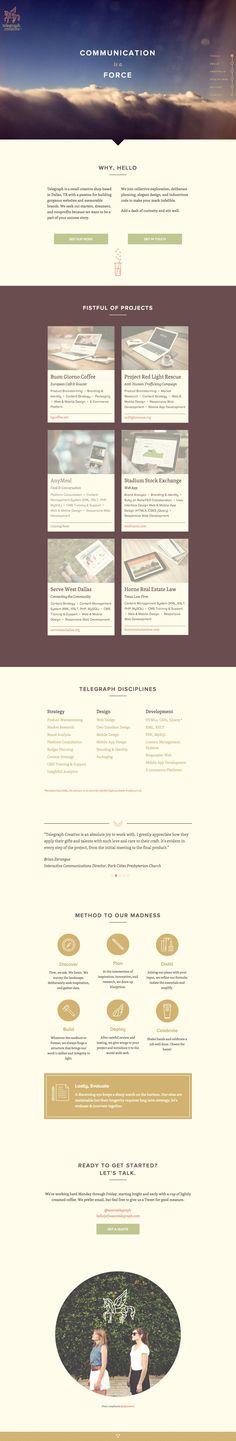 Elegant responsive one page portfolio for Telegraph Creative. Loving this font blend of Proxima Nova and Skolar.
