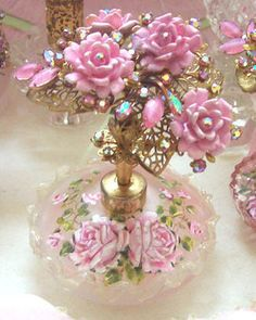 "'Gorgeous Blush Pink Ruffle Frosted Glass Perfume Bottle' Designer ~Catherine Risi~ [Hand Painted Roses Top. Pink AB Rhinestone Cluster Roses Spray Filigree. 6"" tall x 4"" wide.] [Source: Catherine Risi Rose Paintings]"