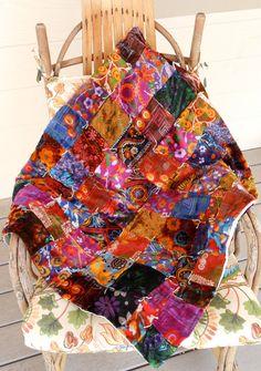 Sumptuous vintage velvet patchwork quilt throw by ClassicCrow, $110.00