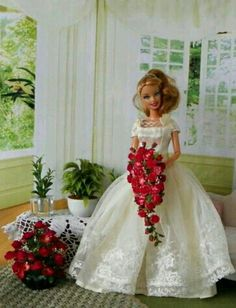 Beautiful BArbie Bride with red bouquet