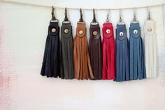 Genuine Leather Tassel Keychain / Tassel for bag /  by Fajnasumka