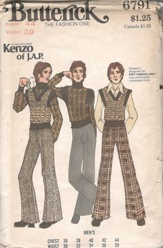 Butterick 6791 Kenzo of J. Mens Flared Pants and Pullover Sweaters Pattern Adult Mod Vintage Sewing Pattern Chest 44 UNCUT 60s And 70s Fashion, 70s Inspired Fashion, Retro Fashion, Vintage Fashion, 1960 Mens Fashion, Retro Mode, Mode Vintage, Vintage Men, Vintage Toys