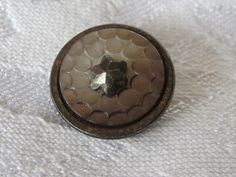 ANTIQUE Carved Iridescent Shell with Cut Steel Star Pin by abandc