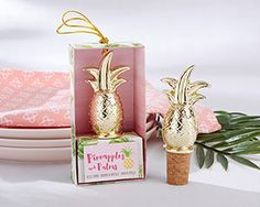 Gold Pineapple Bottle Stopper- Your tropical inspired bridal shower or Hawaiian wedding is just like a dream come true. Make that dream a reality with great guest favors like Kate Aspen's Gold Pineapple Bottle Stopper. Perfect for adding atop wine bo Bridal Shower Favors, Wedding Favours, Wedding Gifts, Party Favors, Party Wedding, Wedding Reception, Wedding Ideas, Wedding Bride, Wedding Table