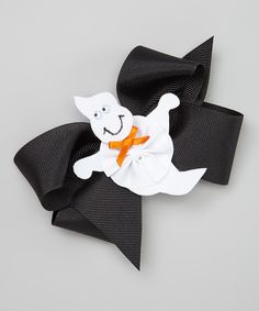 Look what I found on #zulily! Black & White Ghost Bow Clip Set by Picture Perfect Hair Bows #zulilyfinds