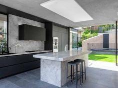 kitchen-design-natural-stone-benchtop-liebherr-zip-tap-gaggenau-premier-kitchens-australia-5 Old Kitchen, Kitchen Items, Stone Benchtop Kitchen, Victorian Kitchen, Panel Doors, Strip Lighting, Open Plan, Cool Kitchens, Kitchen Design
