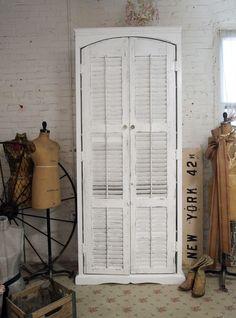 Shabby Chic White Handmade Farmhouse Cabinet