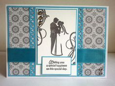 Original handmade wedding card happy wedding congratulations white and turquoise colour handstamped on Etsy, $5.20