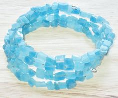 Beaded Bracelet Memory Wire in Turquoise by juBEADlation on Etsy, $7.00