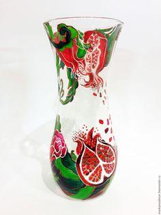 Купить Роспись стекла Ваза для цветов Гранат - ярко-красный, ваза для цветов, ваза стеклянная