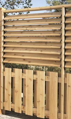 Outdoor Privacy Fence / Screen with Shutters - Modern Design Outdoor Privacy, Backyard Privacy, Backyard Fences, Pergola Designs, Pergola Kits, Pergola Plans, Privacy Fence Screen, Fence Screening, Front Fence