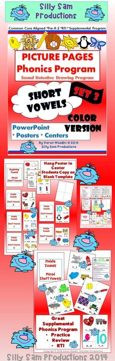 $ PICTURE PAGES Set 3 Short Vowels COLOR Supplemental Phonics Program for Practice, Review or RTI Strategies. 55 Color Posters for Center or PowerPoint Display Other Phonics Sets available at Silly Sam Productions at TpT.