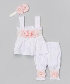 Love this MyLolliflops White & Pink Floral Romper & Headband - Infant by MyLolliflops on #zulily! #zulilyfinds