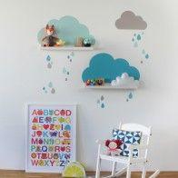 Wandtattoo Wolken für IKEA Bilderleiste - Farbe Mint