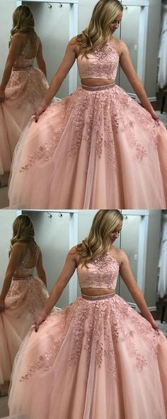 04563a907 Blush Pink Prom Dresses Two Piece Ball Gowns Quinceanera Dresses Beaded  High Neck With Lace Embroidery