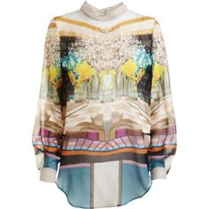 Mary Katrantzou Alcatraz Blouse ($499) ❤ liked on Polyvore