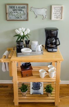 coffee corner 10 Unique Coffee Ideas - At The Picket Fence Coffee Bar Station, Coffee Station Kitchen, Coffee Bars In Kitchen, Coffee Bar Home, Home Coffee Stations, Coffe Bar, Coffee Nook, Coffee Carts, Coffee Corner