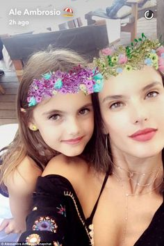 Flower crown filter: Joining Alessandra during her 'Sunday detox' was her…