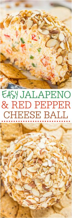 Easy Jalapeño and Red Pepper Cheese Ball - Just spicy enough that the more you have, the more you want! A fast, easy, and foolproof hit! I would use this in the carrot shaped cheese ball. Yummy Appetizers, Appetizers For Party, Appetizer Recipes, Recipes Dinner, Breakfast Recipes, Dessert Recipes, Appetizer Ideas, Cheese Stuffed Peppers, Cheese Ball Recipes