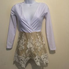 Boutique M white & gold lace romper 100% polyester ..... Lace bottom-stretch waist-runs small/medium Boutique Other