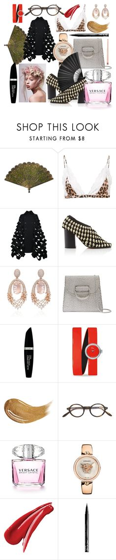 """""""Untitled #1679"""" by kajdie ❤ liked on Polyvore featuring Fleur du Mal, Junya Watanabe, Hueb, Little Liffner, Max Factor, Christian Dior, Too Faced Cosmetics, Paul & Joe, Versace and NYX"""