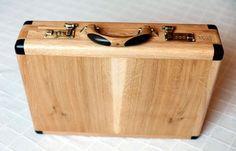 Wooden briefcase.