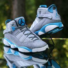 5c09b50e914a Air Jordan 6 Rings Grey Elephant Dark Powder Blue 322992-006 Men s Size  11.5