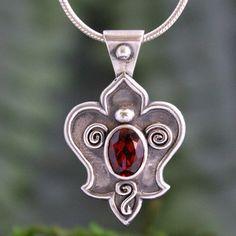 Silver Garnet Fleur de Lis Pendant