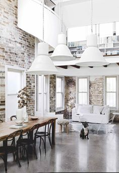 Keeping everyone happy turned this architect's Sydney renovation into a surprising success that also unlocked a stunning skyline view. White Industrial, Industrial Style, Antique White Usa, Rustic Loft, Storey Homes, House Inside, Australian Homes, Industrial Interiors, Minimalist Living
