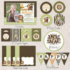 JUNGLE SAFARI Party Collection - DIY Personalized Printable Birthday Party Theme. $18.00, via Etsy.