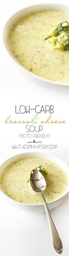 This Low-Carb Broccoli Cheese Soup (Keto Friendly) really hits the spot. It is a perfect weeknight dinner option that's made with only 5 ingredients! TheSkinnyFork.com | Skinny & Healthy Recipes