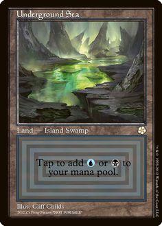 Underground Sea, zeerbe, proxy, digital render, MTG, Z's Proxy Factory, modo, magic online, beta, dual land