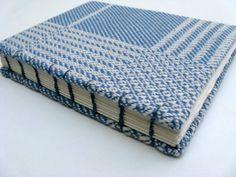 Coptic Bound Blank Journal  - Handwoven Blue Cotton