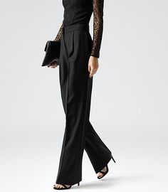 Womens Black High-waisted Wide Leg Trousers - Reiss Francois