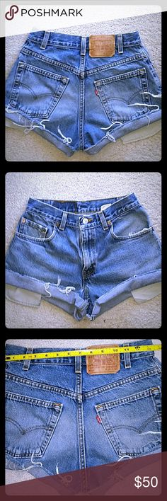 LEVI'S VINTAGE HIGH WAIST JEAN  SHORTS...SIZE 28 AUTHENTIC  VINTAGE  HIGH WAIST LEVI JEAN SHORTS..RUN A LITTLE  SMALLER THAN THE TAG SAYS (*REFER TO PIC #3 27 WAIST) BY INCH OR SO. THESE ARE HARD TO FIND AND SO AWESOME, LOOK GREAT ON. JUST ON TIME FOR SPRING BREAK AND SUMMER!! ???? Levis Shorts Jean Shorts