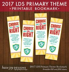 2017 LDS Primary Theme Bookmarks Printable Instant by HaveJoy