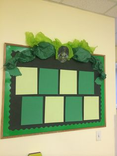 Hulk inspired bulletin board. Superhero themed Two's class. #hulk #Superhero #classroom