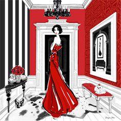 Beautiful. SCARF ELIZABETH TAYLOR - Megan Hess fashion illustration