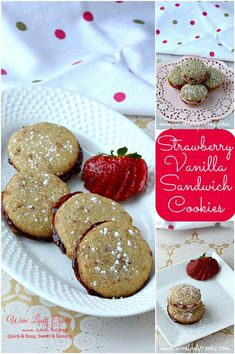 Strawberry Vanilla Sandwich Cookies easy to make any day Or for you Valentine! Click thru for easy recipe.