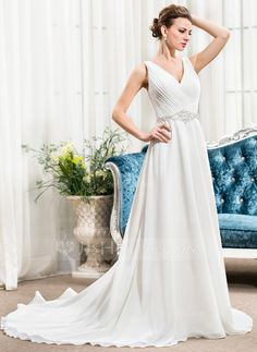 A-Line/Princess V-neck Court Train Ruffle Beading Sequins - elegant, v-neck, sheer back w/ sequins and buttons