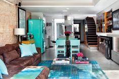 Geladeira Side by Side Turquesa Tiffany • Loft • Sala de Estar • Camila Cilento